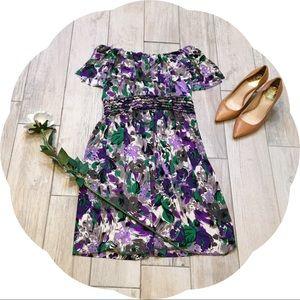 Elle Purple Patterned Off the Shoulder Dress